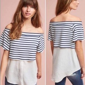 Postmark Navy White Striped Off The Shoulder Top